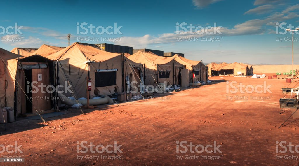 Marine military camp stock photo