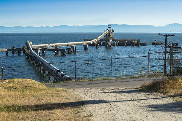 Marine ore loading  operation at Selthet, British Columbia, Ca stock photo