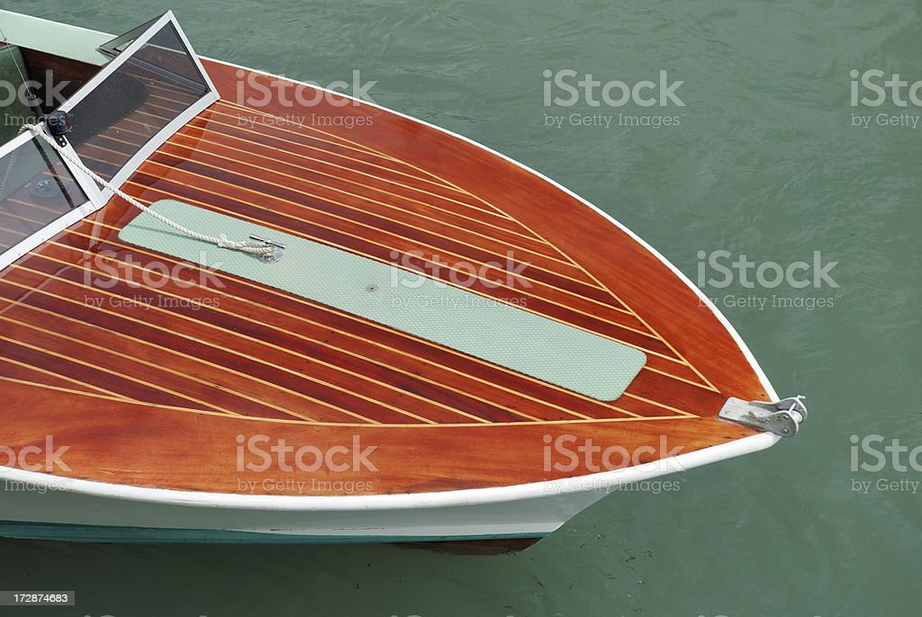 Marine ply deck of motor launch boat stock photo