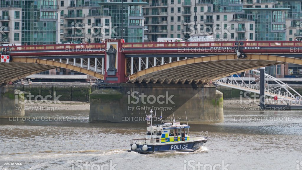 Marine police patrolling the Thames river stock photo
