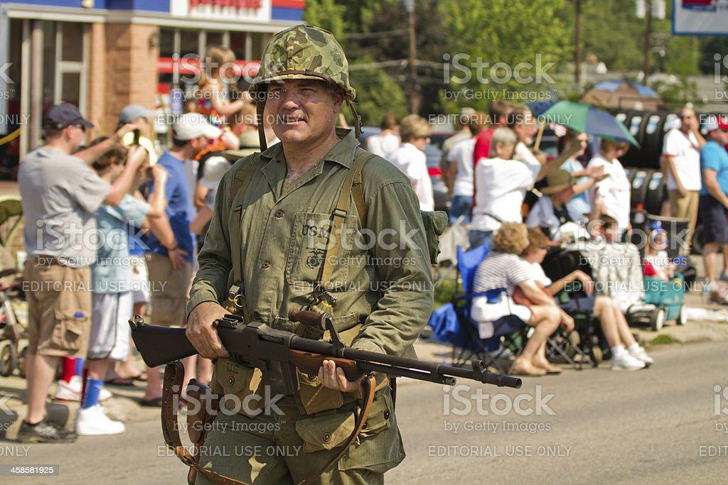 U.S. Marine Reenactor in Memorial Day Parade stock photo