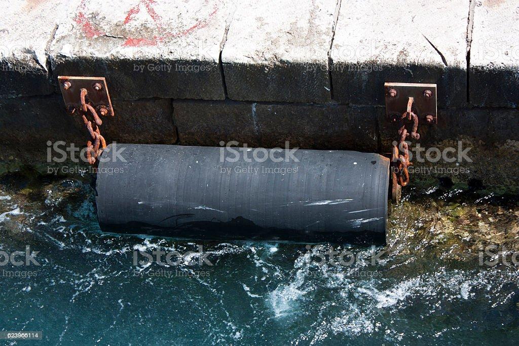 Marine rubber fender stock photo