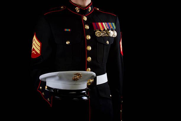 marine sgt dress blues uniform - marines stock photos and pictures