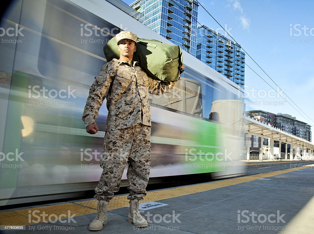 US Marine Soldier Coming Home royalty-free stock photo