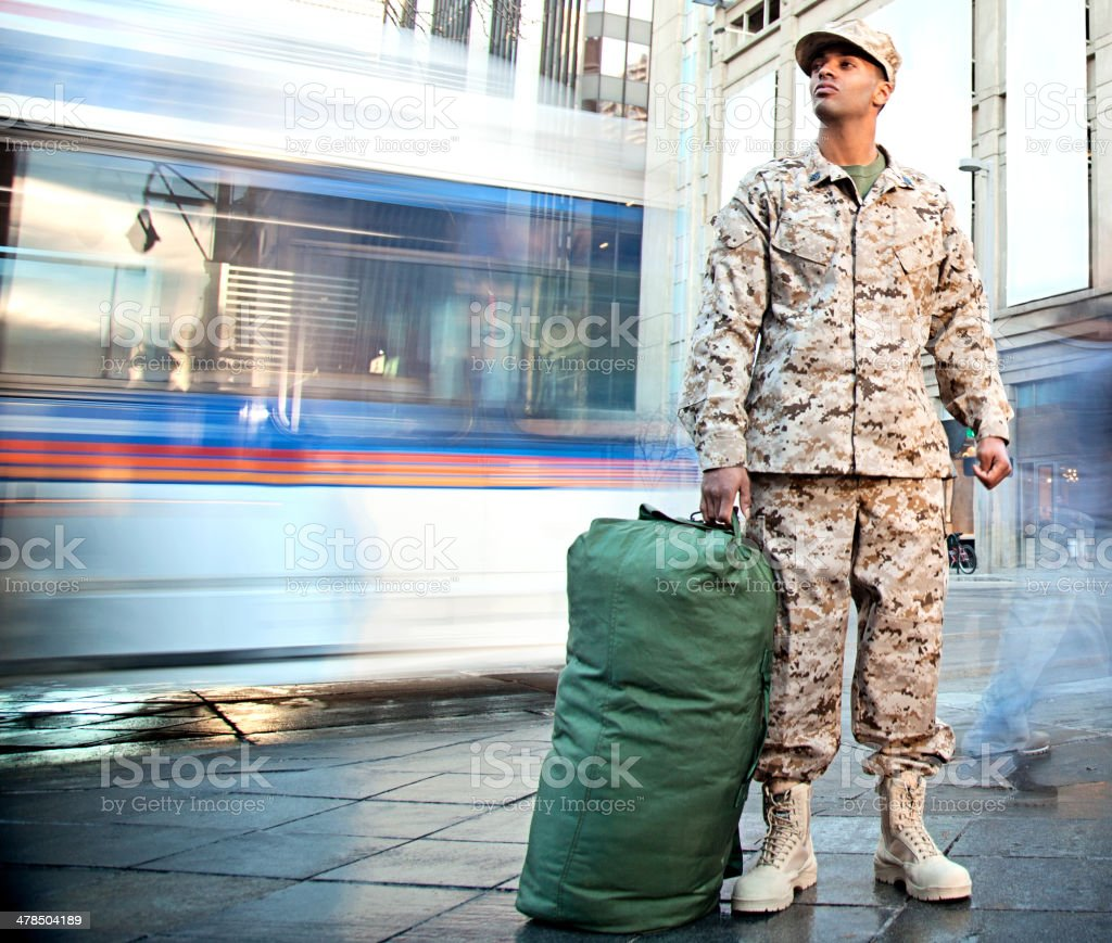 US Marine Soldier Coming Home stock photo