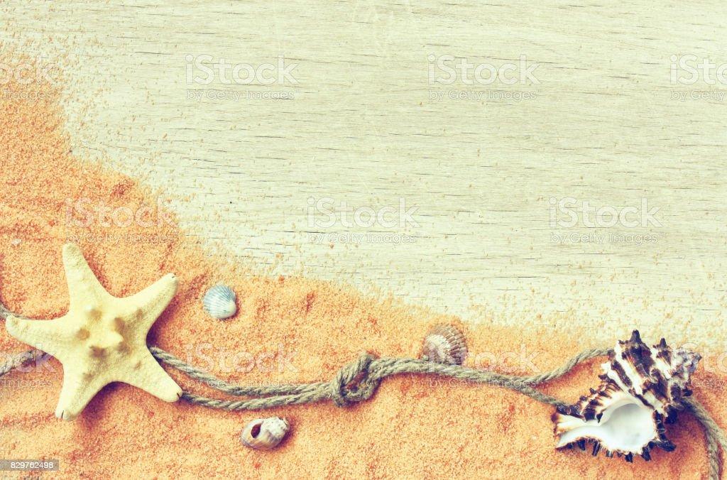 Marine theme background, sand, seashells, rope stock photo