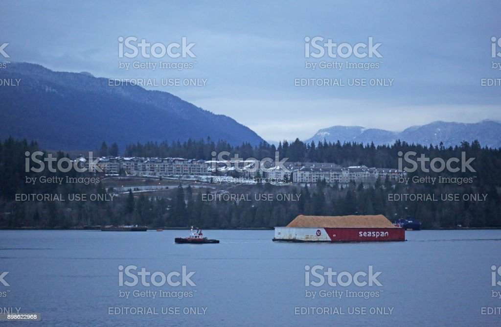 Marine Traffic in Burrard Inlet, Port of Vancouver, Canada, in Winter stock photo