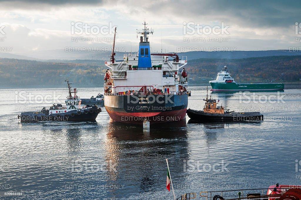 Marine tugs, bulk carrier, in the Kola Bay. stock photo