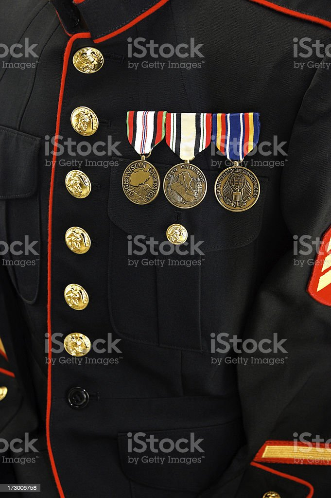 Marine Uniform Blouse with Medals royalty-free stock photo