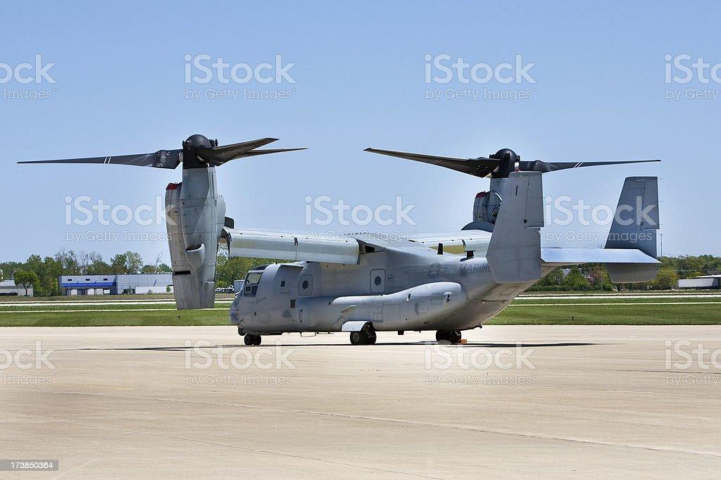 US Marine V22 Osprey on ground royalty-free stock photo