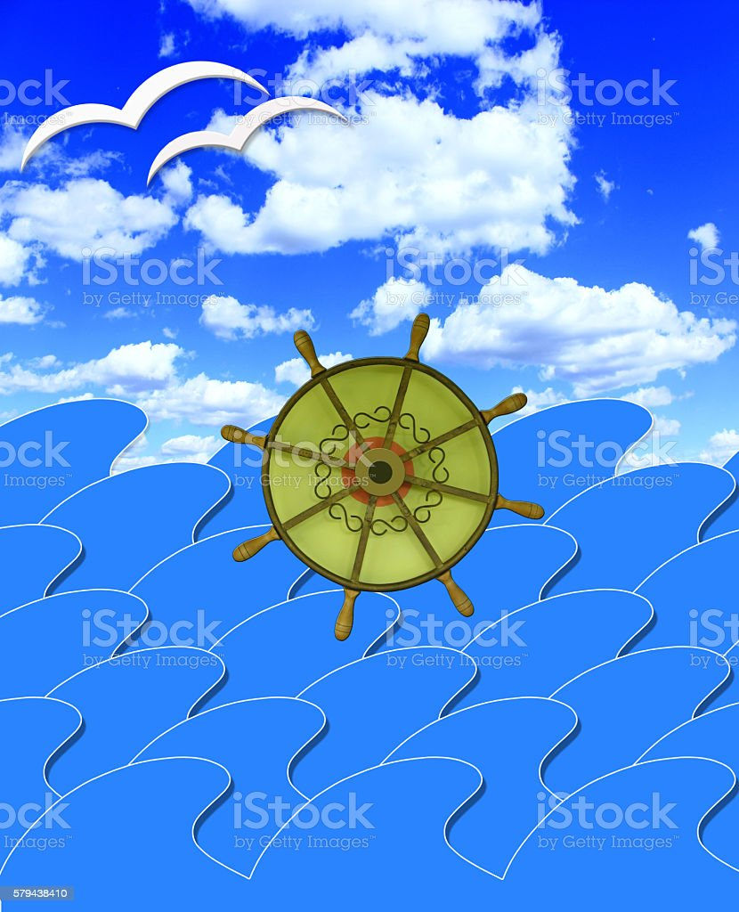 marine waves with steering-wheel and sun beams stock photo