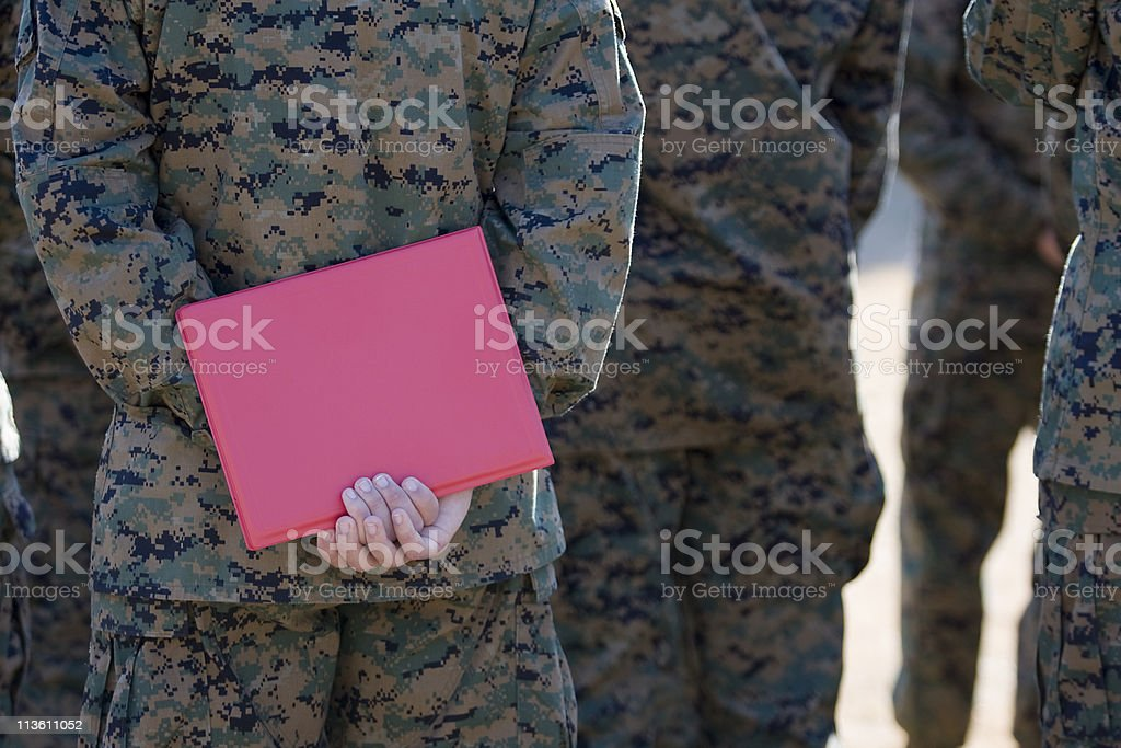 Marine with Award Folder royalty-free stock photo