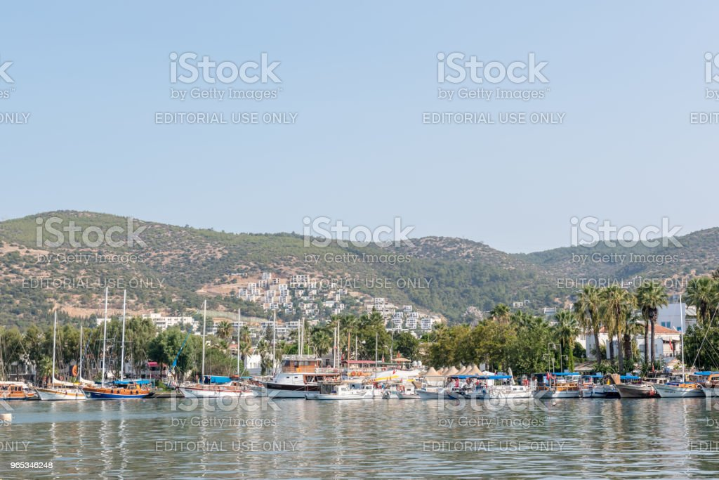 Marine with luxury yachts and sail yachts in Bodrum zbiór zdjęć royalty-free