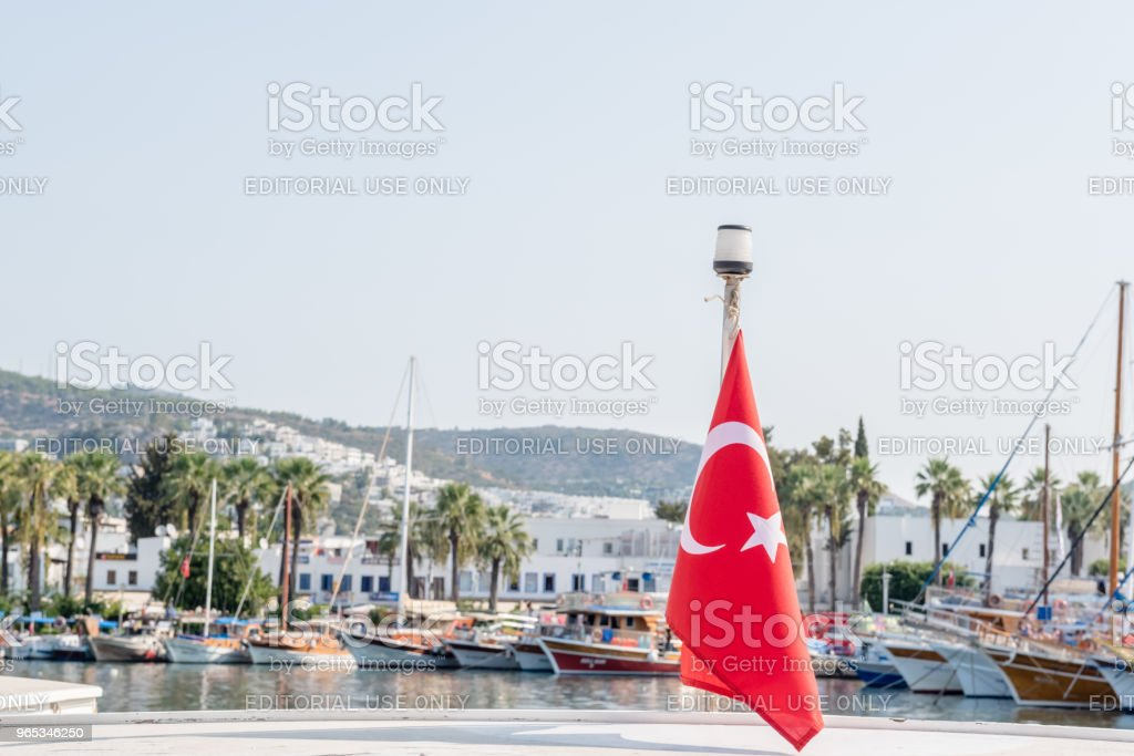 Marine with luxury yachts and sail yachts in Bodrum royalty-free stock photo