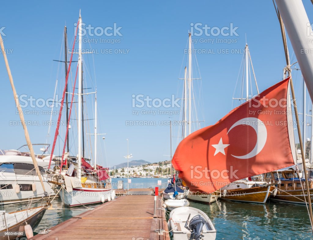 Marine with luxury yachts and sail yachts in Bodrum zbiór zdjęć royalty-free