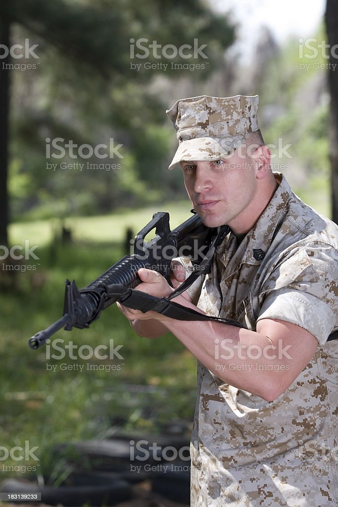 Marine With Rifle royalty-free stock photo