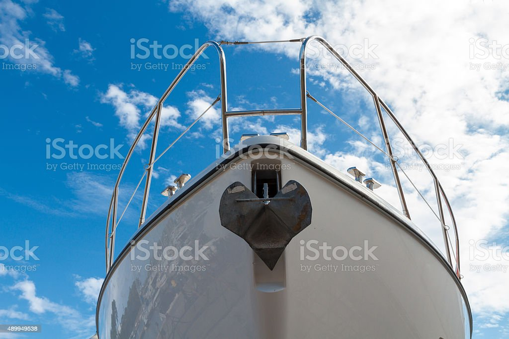 Marine Yacht against the sky stock photo