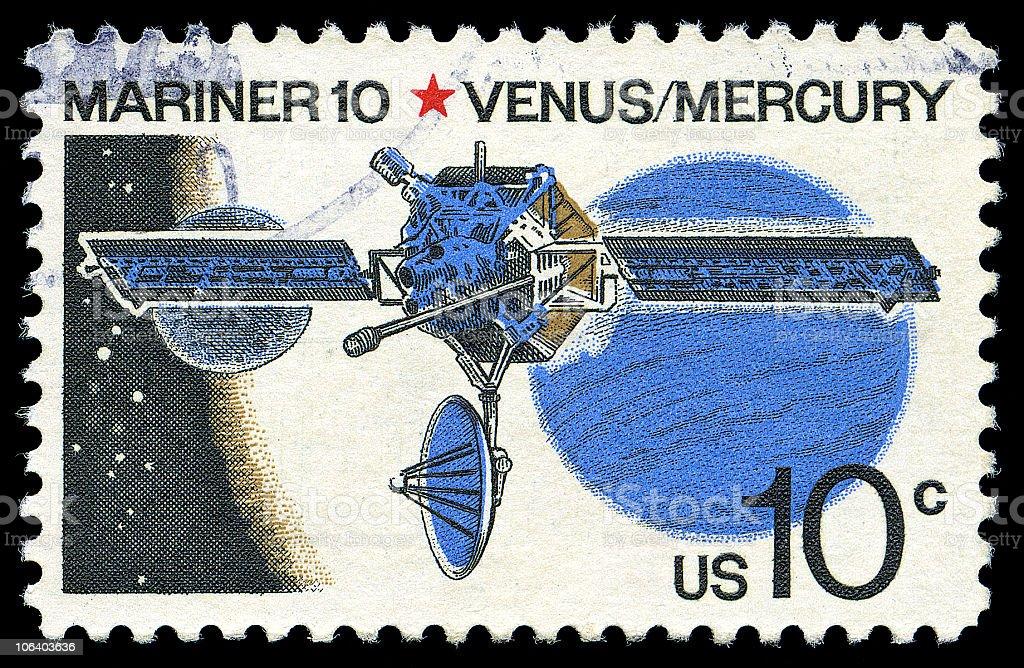 Mariner 10 Venus and Mercury Stamp royalty-free stock photo