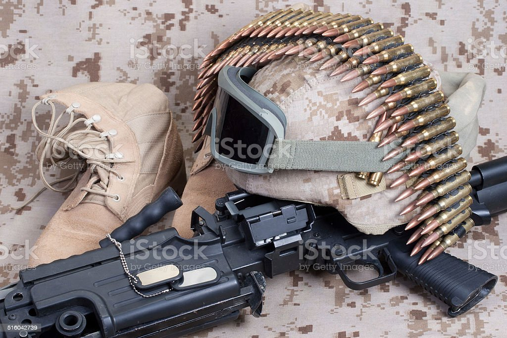 US Marines background concept with machine gun stock photo
