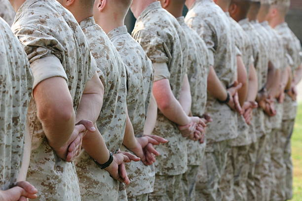 Marines in Formation Marines in formation. marines military stock pictures, royalty-free photos & images
