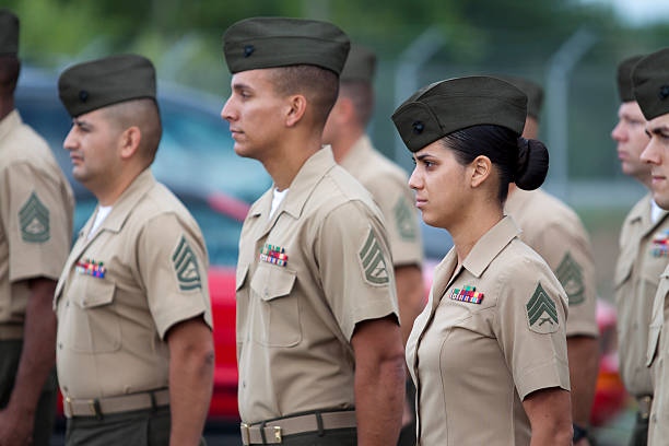 marines in formation - marines stock photos and pictures