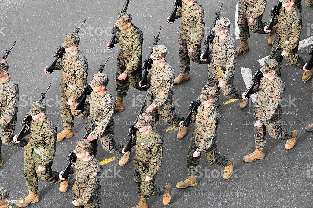 US marines marching stock photo