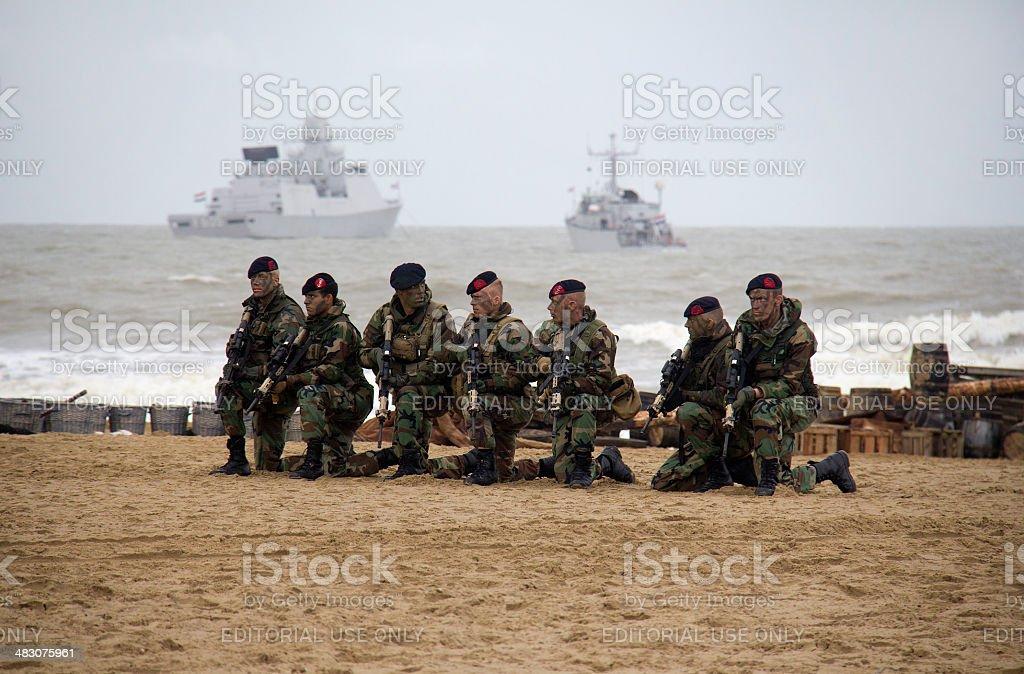 Marines on the Beach stock photo