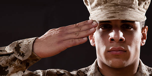 us marines portrait - saluting stock photos and pictures