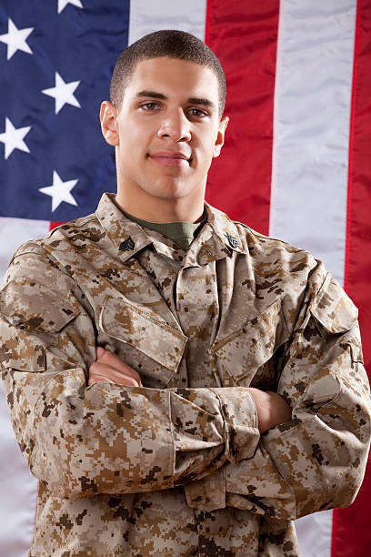 US Marines Portrait Portrait of a US Marines.  The model is wearing an official US Marine Corps Marpat BDU uniform. -Click on the banners to browse portfolio by collections- sergeant stock pictures, royalty-free photos & images