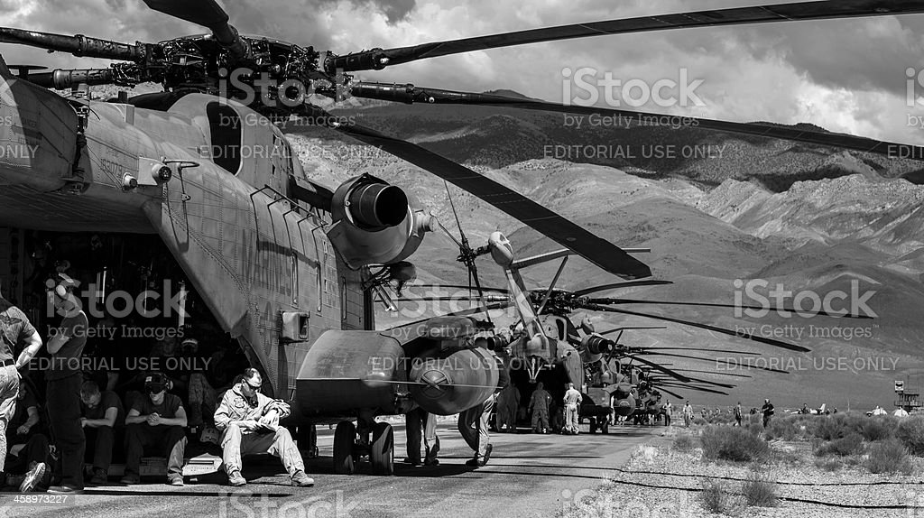US Marines relax during fuel stop stock photo