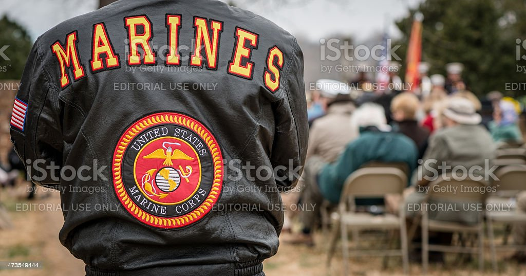 Marines Stands at Commemoration stock photo