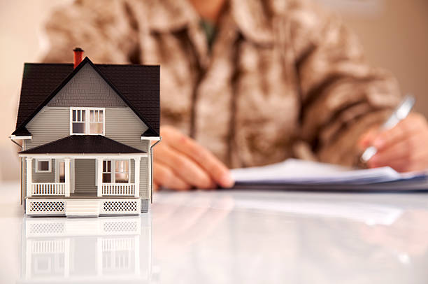 Marines Uniformed Personel with Real Estate Paperwork stock photo