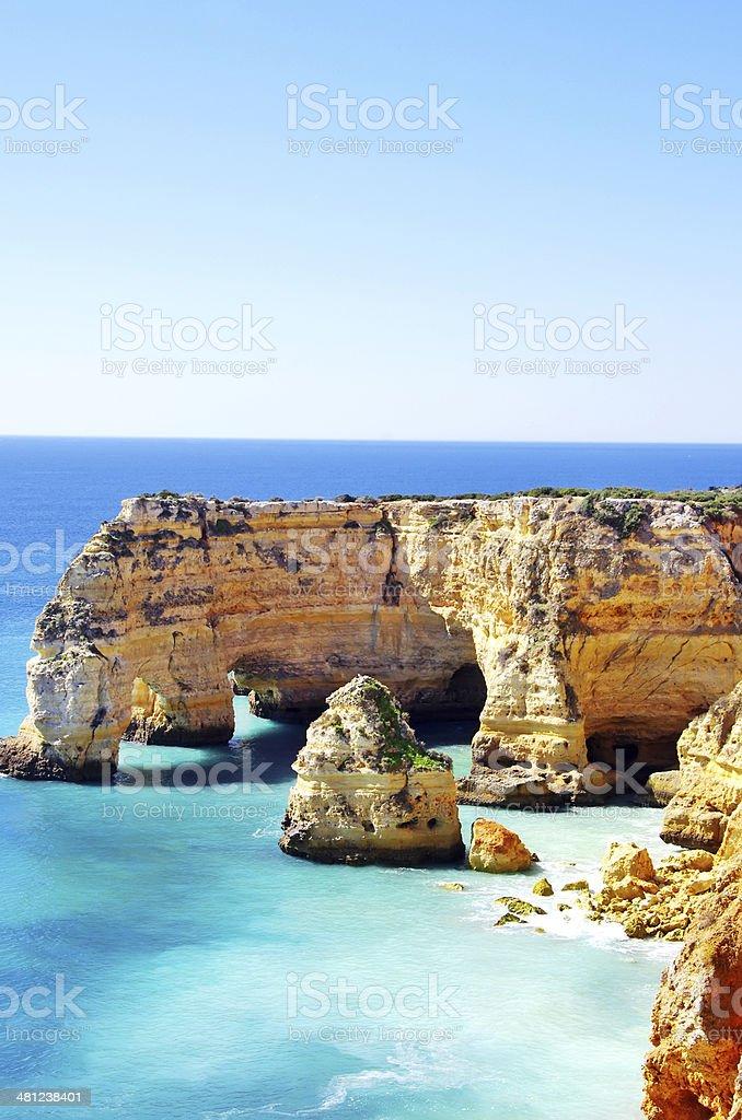 Marinha Beach,  in Portugal, Algarve. stock photo