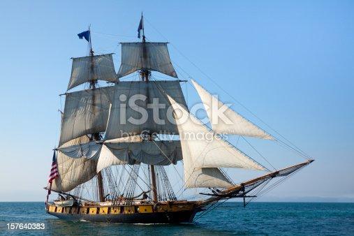 istock Maritime Adventure; Majestic Tall Ship at Sea 157640383