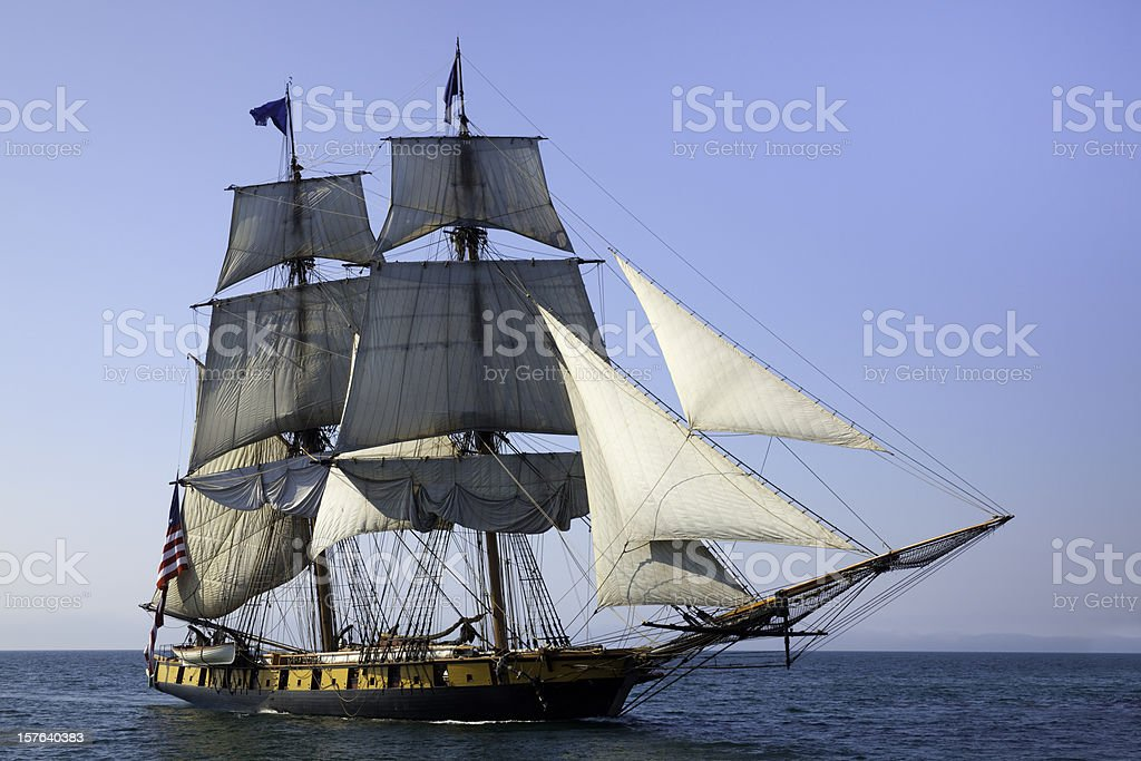 Maritime Adventure; Majestic Tall Ship at Sea stock photo