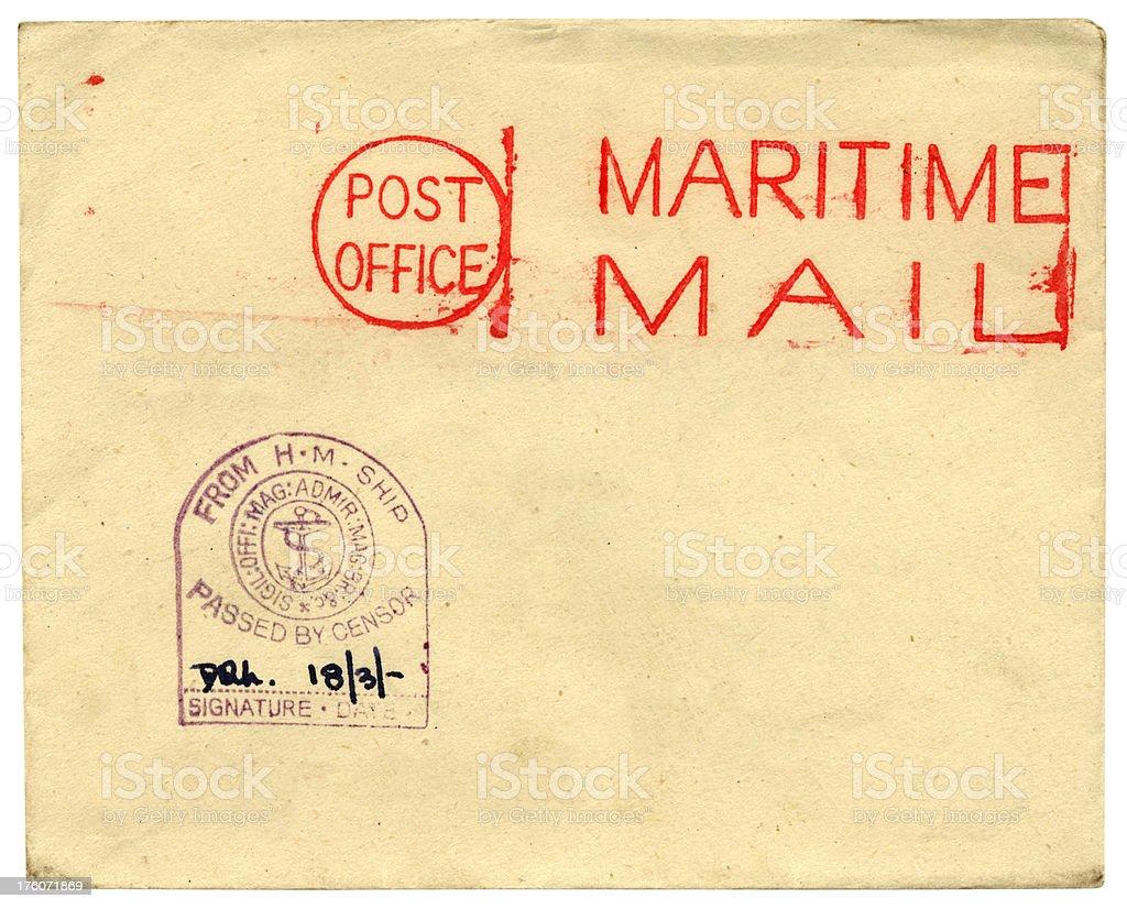 Maritime Mail, sent from a British Royal Navy ship royalty-free stock photo