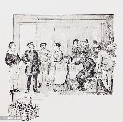 Image from an 1894 French book, about the New Adventures of the nephew of Robinson. Black and white illustrations of the era and culture of maritime adventure. Here we observe an officer, sailors and men at a function, bottles of drink in wicker basket, a lady in attendance.