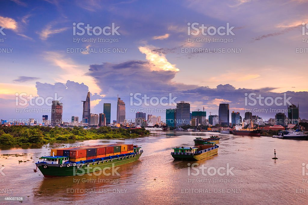 Maritime transport on Sai Gon river stock photo