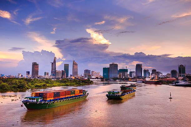 Maritime transport on Sai Gon river stock photo