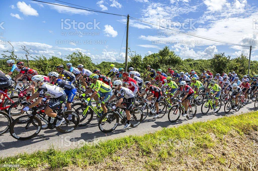 Mark Cavendish inThe Peloton - Tour de France 2016 stock photo