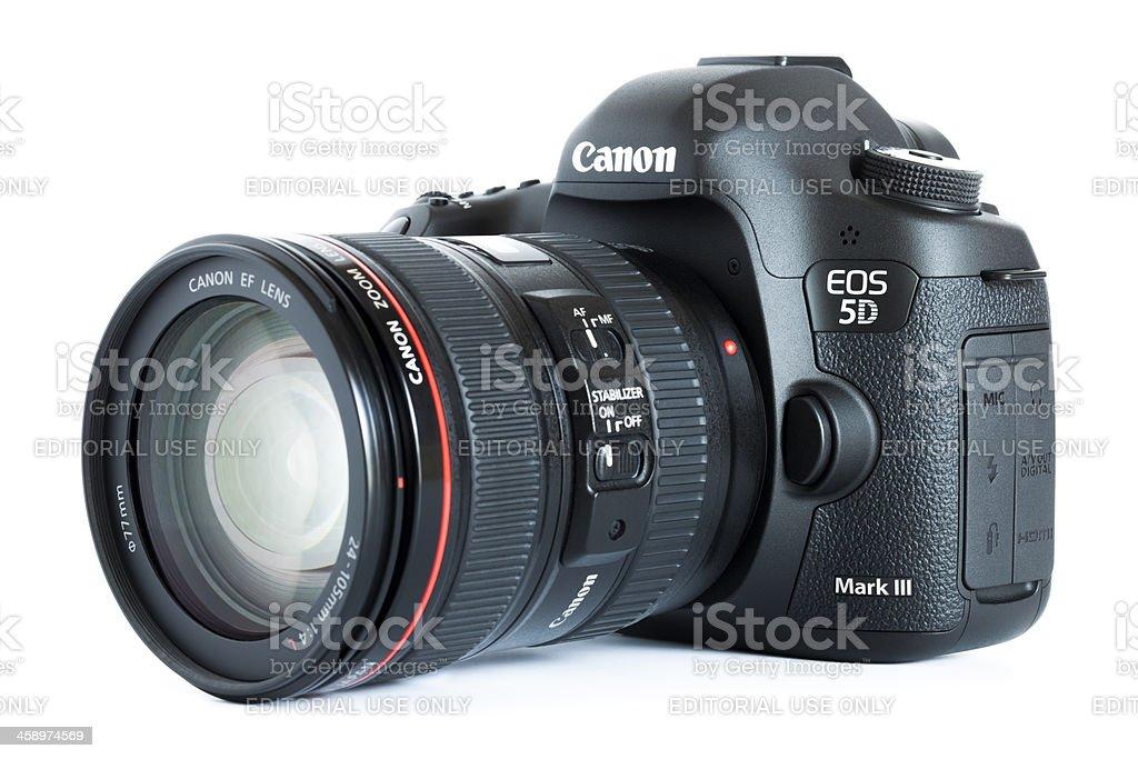 EOS 5D Mark III Canon digital camera with lens royalty-free stock photo