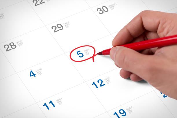 Markieren Sie auf dem Kalender am 5. April 2016 – Foto