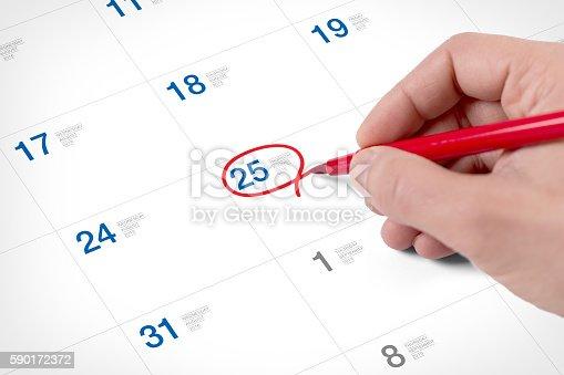 istock Mark on the calendar at August 25, 2016 590172372