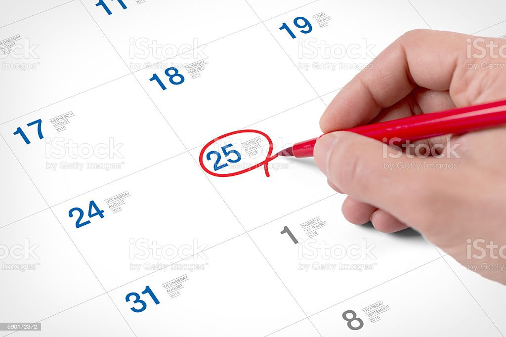Mark on the calendar at August 25, 2016 stock photo