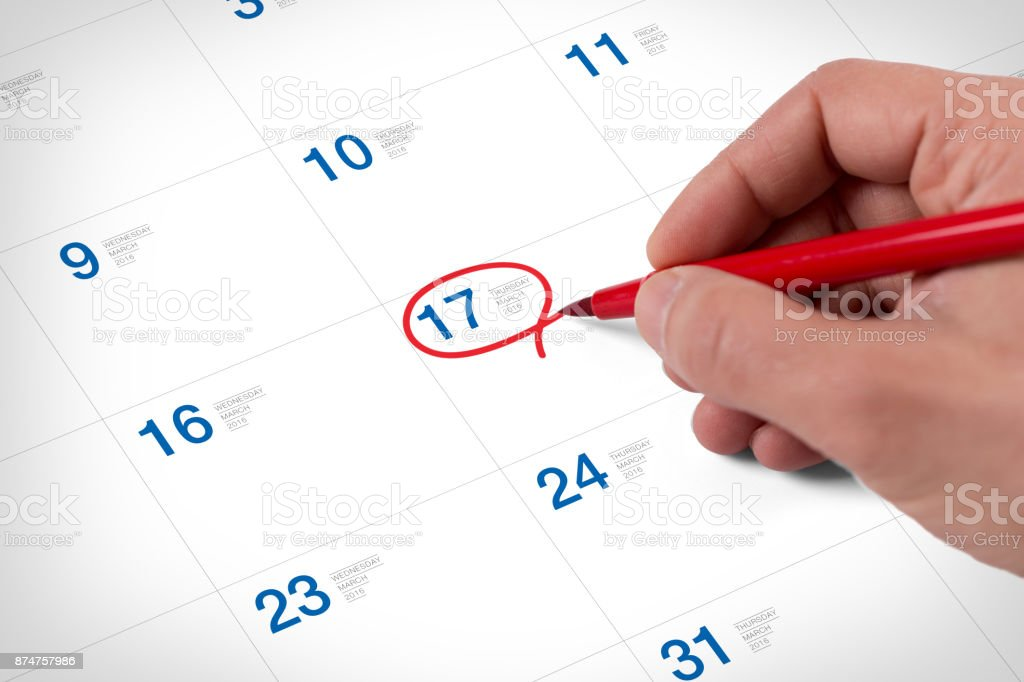 Mark on the calendar at March 17, 2016 stock photo