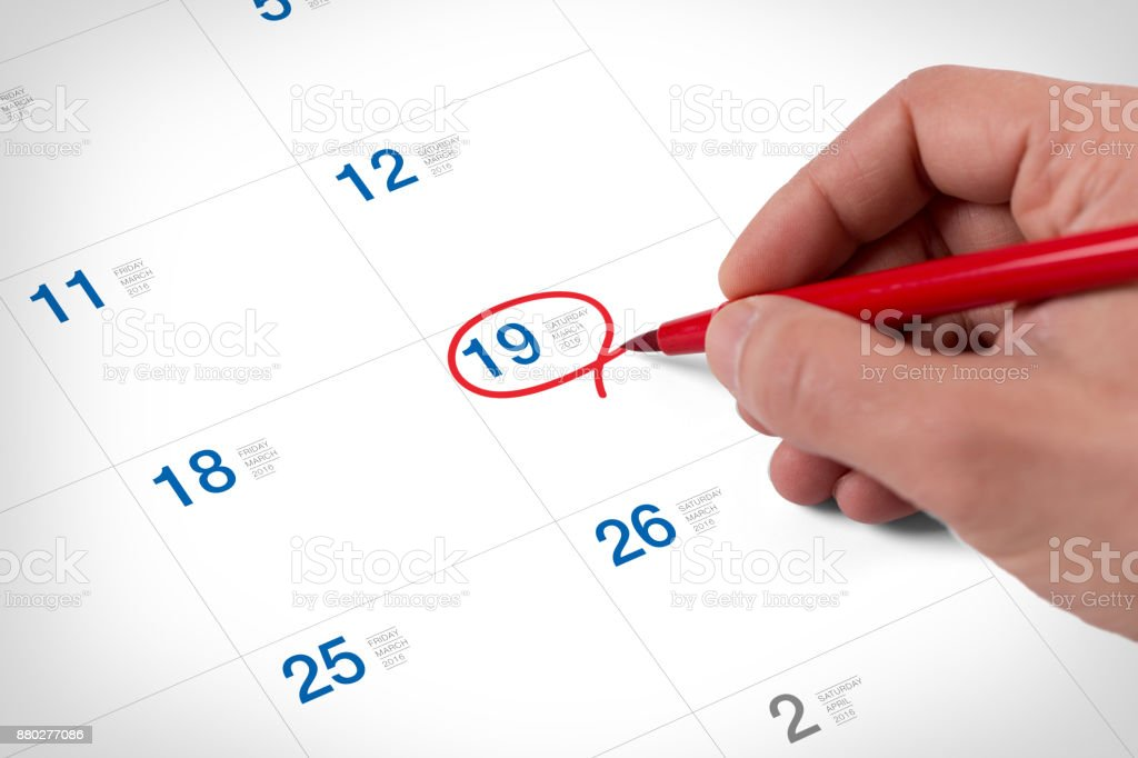 Mark on the calendar at March 19, 2016 stock photo