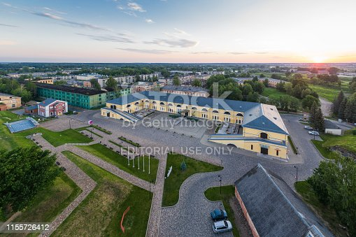 Daugavpils, Latvia - June 8, 2019:  Marko Rothko Center in the Daugavpils Fortress Area on an the early morning, view from a drone