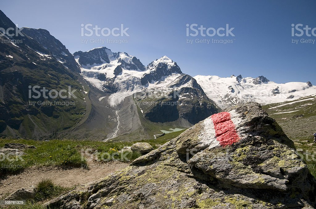 Mark Stone with glacier royalty-free stock photo