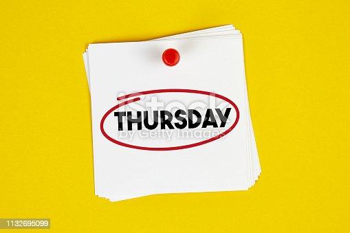 Mark Thursday on the calendar on yellow background
