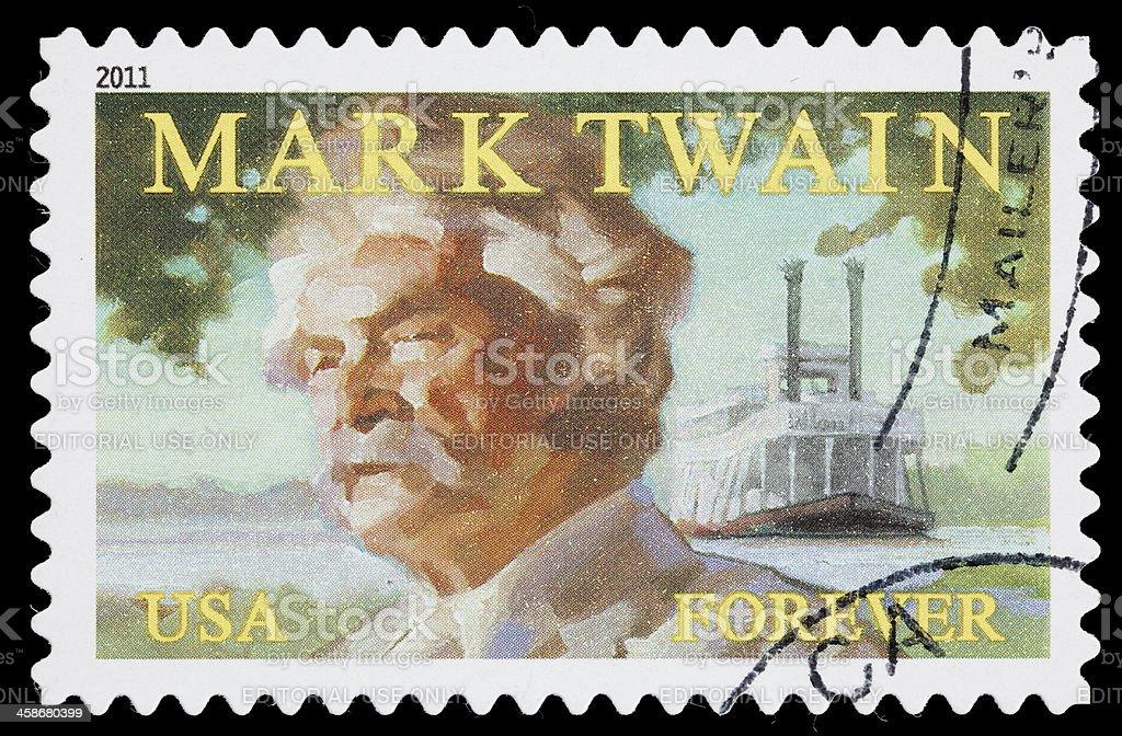 USA Mark Twain postage stamp stock photo